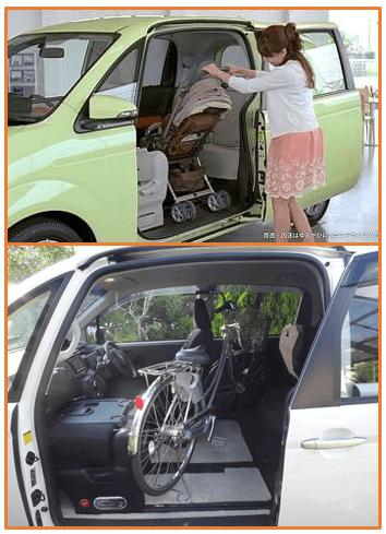 ベビーカーや自転車も簡単に載せることができるスライドドアコンパクトカーのポルテ