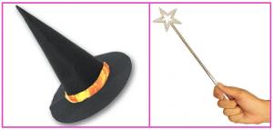ハロウィン衣装のトンガリ帽子とステッキ