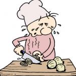 玉ねぎのみじん切りをしながら涙を流す料理人