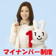 マイナンバー制度広報用ロゴマークのマイナちゃんと上戸彩