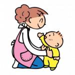 お母さんが両脇を持って赤ちゃんを立たせているイラスト