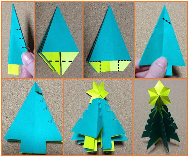 クリスマスツリーの手作り折り紙の簡単な折り方2