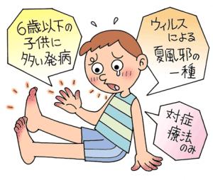 手足口病はウイルスによる夏風邪の一種で6歳以下の子供に多い