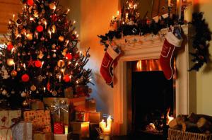 クリスマスの飾り付けがされたクリスマスツリーと暖炉