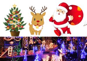 クリスマスツリー・トナカイ・サンタクロースとイルミネーション