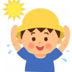 夏の暑い日に汗を書いている子供のイラスト