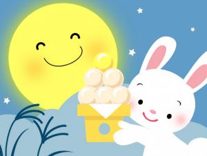 月見団子をうさぎが持って月が微笑んでいるイラスト
