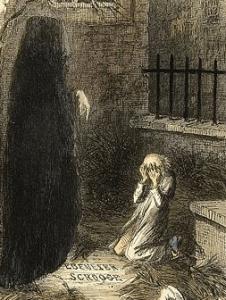 第三の幽霊と自分のお墓を見るスクルージ