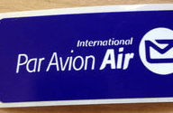 郵便局で手紙に貼ってもらう航空便用シール