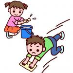 雑巾がけ掃除をする男の子と女の子